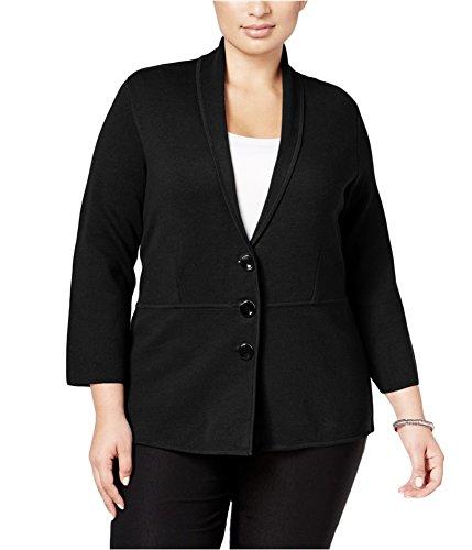 Alfani Womens Knit Pea Coat Black 2X - Plus Size (Coat Alfani)