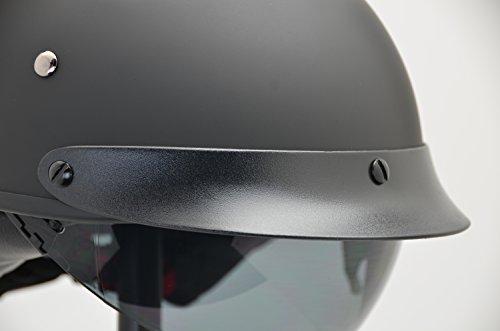 Vega Helmets Warrior Motorcycle Half Helmet with Sunshield for Men & Women, Adjustable Size Dial DOT Half Face Skull Cap for Bike Cruiser Chopper Moped Scooter ATV (Medium, Matte Black)