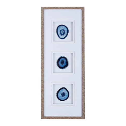 - Madison Park Blue Trio Wall Art-Glass Framed Panel Natural Agate 4 Inch Geode Stones Living Room Décor,