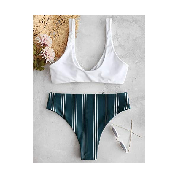 ZAFUL Costumi da Bagno Donna in Due Pezzi Bikini Set Imbottito Estate Slip Brasiliano Annodato a Righe 3 spesavip