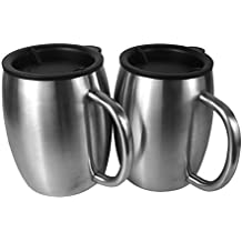 Stainless Steel Coffee Mugs with Lids - 14 Oz Double Walled Insulated Coffee Beer Mugs by Avito - Set of 2 - Best Value - BPA Free Healthy Choice - Shatterproof and Spill Resistant