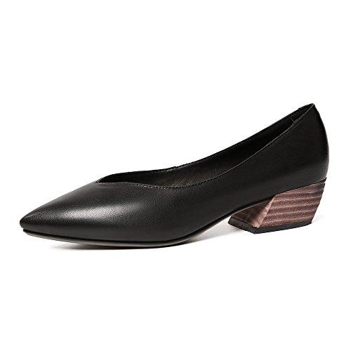 Mujer Black Las Punta Estrecha Las VIVIOO De Tacón Cuero Alto De Tacón Bombas De Cuadrado Zapatos Genuino Zapatos Cómodos Mujeres De Zapatos De q7Pq1Bx4wf