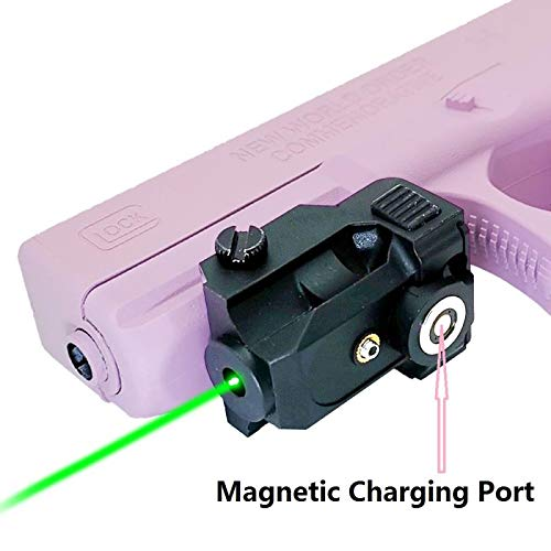 Infilight Green Laser, Tactical Pistol Laser Sight Magnetic Charging Green Laser Compact Dot Sight Picatinny Rail Mount Laser Sight Less Than 5mw Rechargeable Laser Pointer for Pistols & Handguns