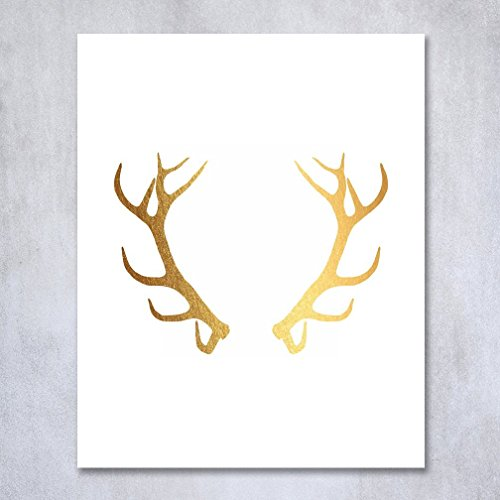 Antlers Gold Foil Decor Print Bohemian Boho Chic Metallic Poster Modern Wall Art 5 inches x 7 inches
