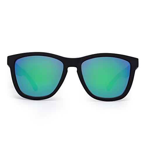 Retro Polarized Wayfarer Sunglasses Refective Mirror Lens Eyeglasses Men Women (Matte Black / Polarized Mirror - Eyeglasses Wayfarer Big