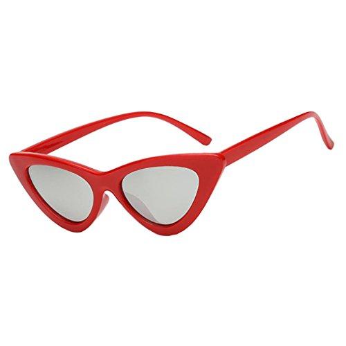 de Vintage Sol Mujeres rojo de Protección negro Prettyia plateado piezas Triàngulo de forma Moda Gafas y para en UV De 2 wYxx4fqAI