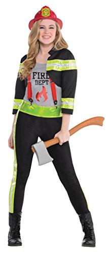 Black Jr Firefighter Helmet - Red Hot Firefighter Girl Teen/Junior Costume - Teen Medium