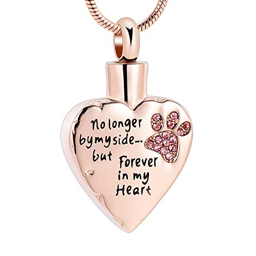 memorial jewelry No Longer by My Side,But Forever in My Heart Carved Locket Cremation Urn Necklace for Pet Dog Cats (Rose Gold-Pink)