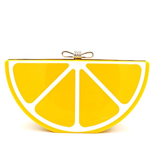 Women Acrylic Lemon Evening Bags Purses Clutch Vintage Banquet Handbag (Yellow)