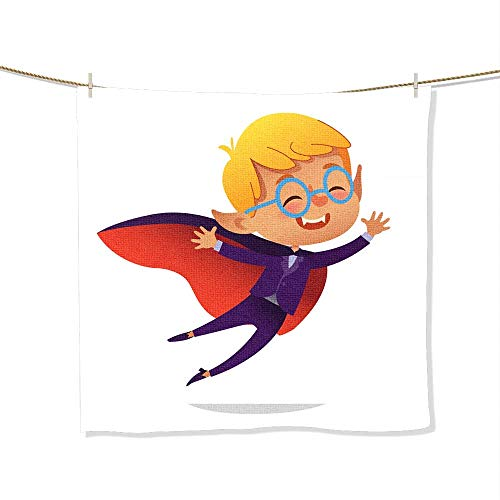 FootMarkhome Microfiber Beach Towel Kids Costume Party Dracula Vampire Boy in Halloween Devil Costume Laughing and Flying Cartoon Vector Characte Soft, Quick Dry, Absorbent, Size:13.8