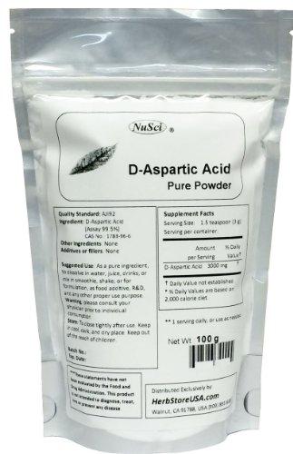 NuSci Pure D-Aspartic Acid (DAA) Powder AJI Quality Stand...