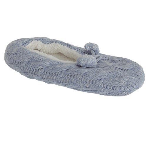 Foxbury Dames / Dames Klassieke Gebreide Fluffy Slipper Blauw