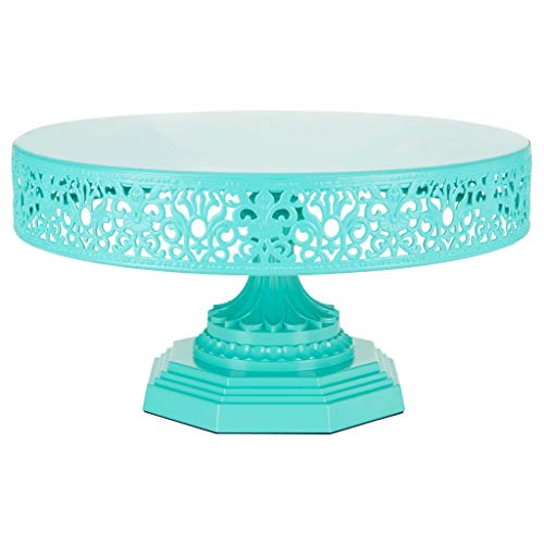 Amalfi Decor 12-Inch Metal Cake Stand, Round Steel Display Pedestal for Wedding Events Birthday Party Dessert Cupcake Plate (Teal)