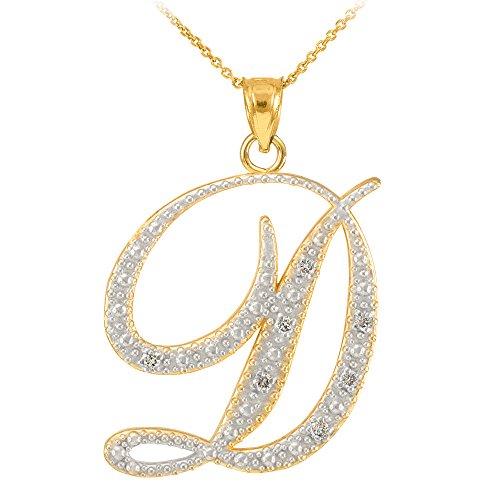 14k Yellow Gold Diamond Script Initial Letter D Pendant Necklace, ()