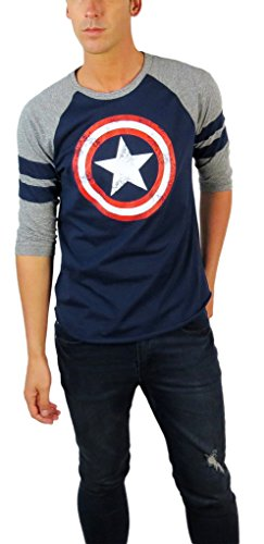 Marvel Mens Captain America Distressed Shield Varsity Football 3/4 Sleeve Raglan (Medium, - Football Sleeve 3/4
