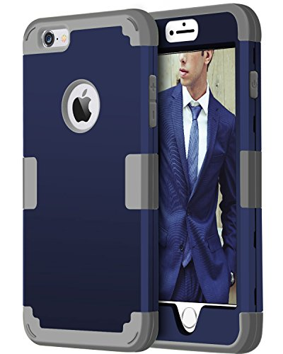 BENTOBEN iPhone 6 Plus Case, iPhone 6S Plus Case, 3 in 1 Hybrid Case for iPhone 6/6S Plus 5.5 Inch Shockproof Hard Cover PC + Soft Silicone Interior Scratch Protective Combo Covers Blue&Grey