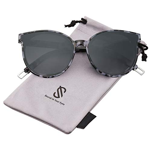 SOJOS Fashion Round Sunglasses for Women Men Oversized Vintage Shades SJ2057 with Black Marble Frame/Grey Lens