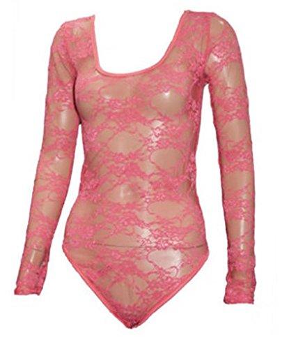 Commencer–Maillot de gimnasia de manga larga floral lace bodysuits Top Rosa Oscuro