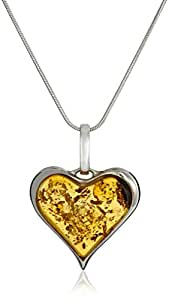 """Sterling Silver and Honey Amber Heart Pendant Necklace, 18"""""""
