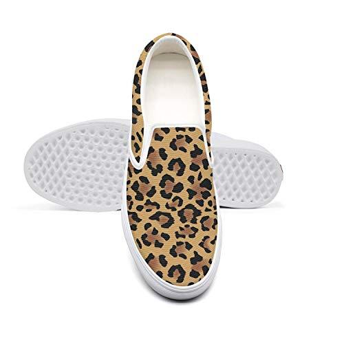 Mens Canvas Sneaker Gold Leopard Print Skin Low Help Vintage Breathable Golf Shoes