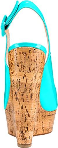 Trusify Mujer 12cm EU tamaño 34-46 Truabandon Tacón ancho 12CM Sintético Sandalias de vestir Azul Cyan