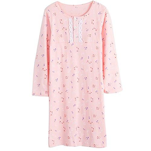 Allmeingeld Girls' Fancy Nightgowns Lace Sleep Shirts Cotton