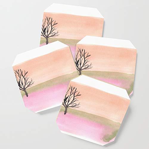 Society6 Drink Coasters, Semi Abstract Landscape by valourine, set of 4 ()
