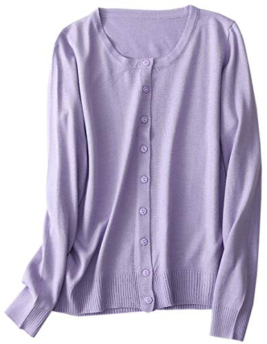 Women's Button Down Long Sleeve Crewneck Soft Knit Basic Cashmere Cardigan Sweater, Lilac, Tag M = US S(4-6)