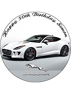 Personalised Jaguar Sports Car Cake Topper A Pre Cut Round 8
