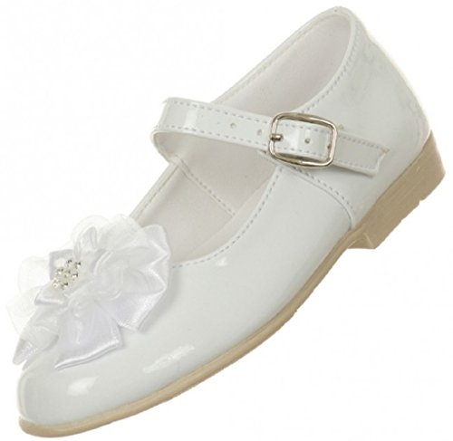 BNY Corner Patent Floral Ankle Strap Formal Uniform Flower Girl Dress Shoes White 6.5 Toddler TR 77.23