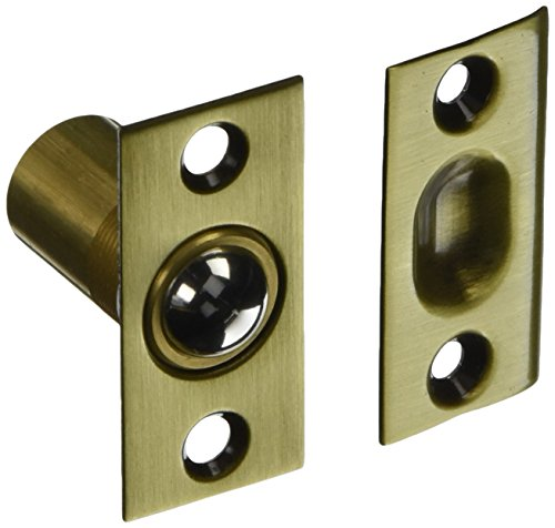 - Baldwin 0425060 Adjustable Ball Catch, Antique Brass with Brown