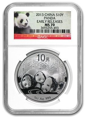 2013 CN Silver Panda Early Releases $1 MS70 NGC