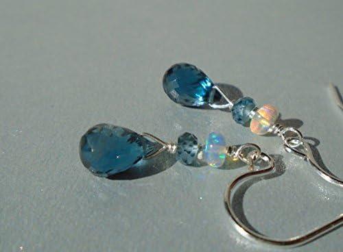 Pendientes de topacio azul de Londres con ópalo etíope, pendientes de piedras preciosas, piedra de nacimiento de diciembre, topacio de lágrima, pendientes cortos de 7 mm