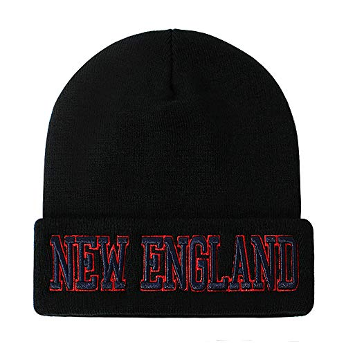 Classic Cuff Beanie Hat - Black Cuffed Football Winter Skully Hat Knit Toque Cap (New England)