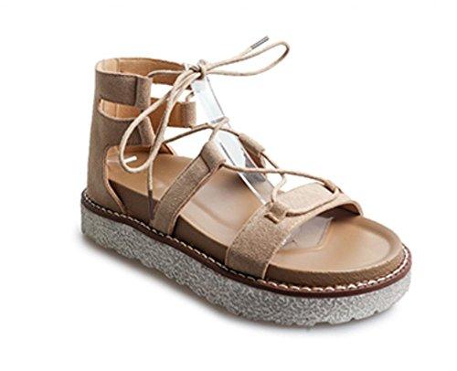 Sommer Sandalen Frauen kreuzen Riemchensandalen dicke Kruste Muffin offene Sandalen Schuhe der Frauen flache Sandalen Khaki