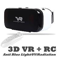 La réalité virtuelle Headset, Bevifi 3d VR Lunettes casque/11,9- 14cm téléphone portable film 3d/jeu Visière avec télécommande sans fil pour Android/iOS, pour Samsung Galaxy S7/6Edge/5/A5/A3, iPhone 7/6S/6S Plus, etc.