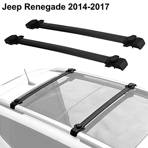 - ALAVENTE Roof Rack Cross Bars for Jeep Renegade 2014-2018 with Side Rails (Pair, Black)