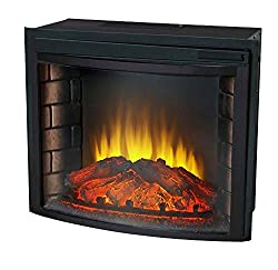 """24"""" Curved Electric Fireplace Insert - Firebox with Heater Chimney Vent Free by NA"""