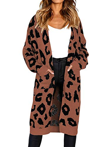 (Women's Soft Stretch Long-Line Long Sleeve Open Front Knit Cardigan with Two Pockets Coffee Medium)