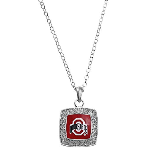 (Officially Licensed Ohio State University Buckeyes Square Crystal Studded Pendant Necklace)