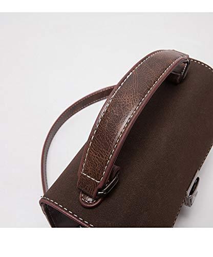 Retro Simple Borsa Lock Small smerigliato quadrato Spalla Wild Sacchetto scuro Fashion Donna marrone Wybbag ZPXOiuk