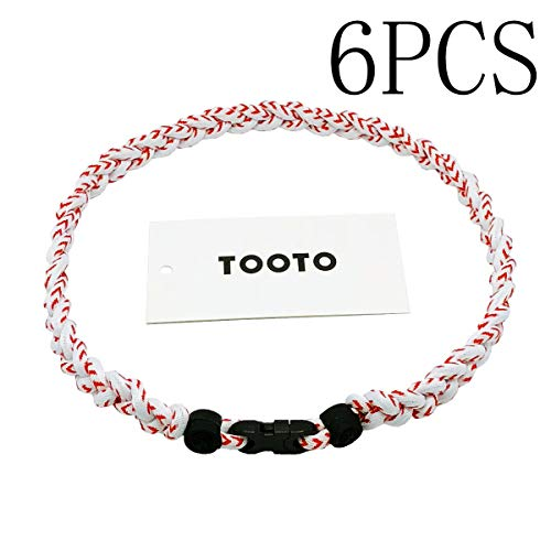 TOOTO Pack of 6 Sport Style Tornado Titanium Necklace Three Colors Braided Rope Baseball Necklace-20 Length (Baseball)