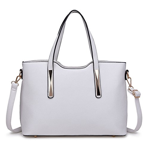 Shoulder 2 Women Fashion Lulu Saffiano Top Handle Handbags Pu Tote Leather Ladies For Bags Miss Pieces White qUAzwp7w