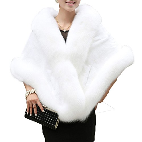Caracilia Faux Fur Wrap Cape Shawl for Women Wedding Dress Lady Party Ivory1 CA89