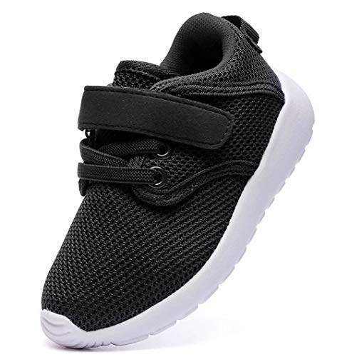 DADAWEN Boy's Girl's Lightweight Breathable Sneakers Strap Athletic Running Shoes Black US Size 11.5 M Little Kid (Cute Back To School Shoes For Girls)