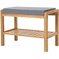 SONGMICS Bamboo Wood Shoe Bench Rack with Cushion Upholstered Padded Seat Storage Shelf Origanizer Bench for Bedroom Living Room Hallway Front Door Entryway Foyer Garage Natural ULBS65N