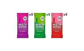 Health Warrior Chia Bars, Tropical Variety Pack, Gluten Free, Vegan, 25g Bars, 15 Count