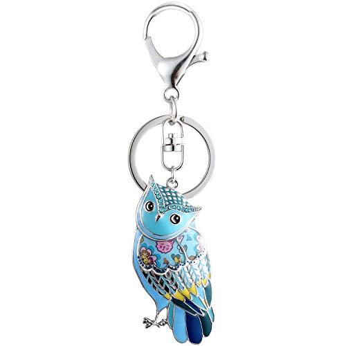 Luckeyui Unique Owl Gift Keychains for Women Blue Enamel Cute Animal Keyring by Luckeyui (Image #1)
