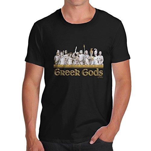 Men Mythological Theme Greek Gods Print T-Shirt Black Medium
