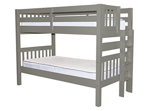 Bedz King Bunk Bed Twin over Twin with End Ladder, Gray